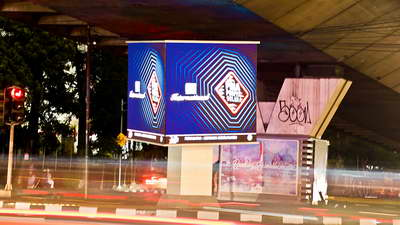 project ooh dooh creative led cube dago bandung