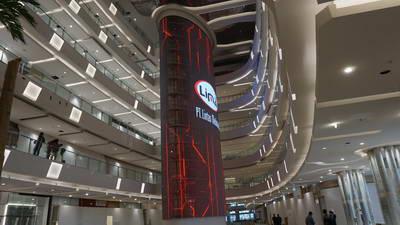 project led facade podomoro deli park mall medan