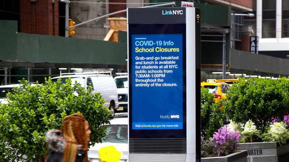One of the Digital Signage in New York which displays notification during covid-19 pandemic