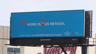 Salah satu LED Videtron Outdoor di Nevada yang menampilkan visual mengenai himbauan untuk
