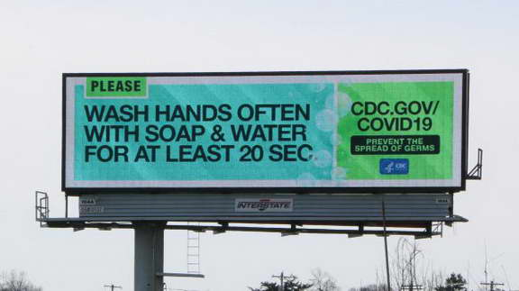 One of the Outdoor LED Videotron in Philadelphia which display an appeal to wash hand regularly